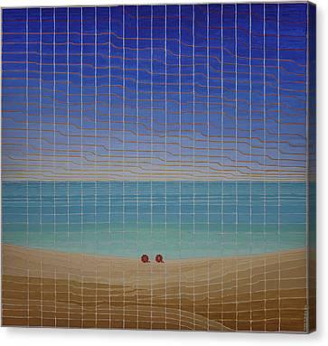 Three Beach Umbrellas Canvas Print
