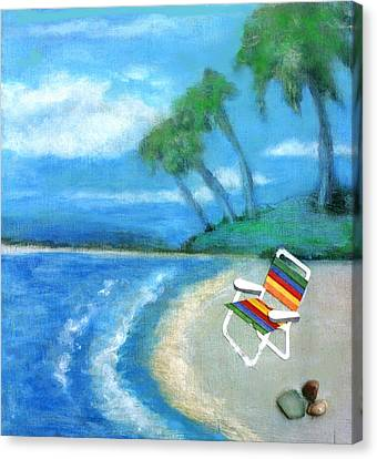 Canvas Print featuring the painting Three Beaches B by Mary Ann  Leitch