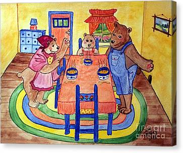 Three Bears Canvas Print by Julie Brugh Riffey
