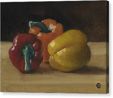 Three Bell Peppers Canvas Print by John Reynolds
