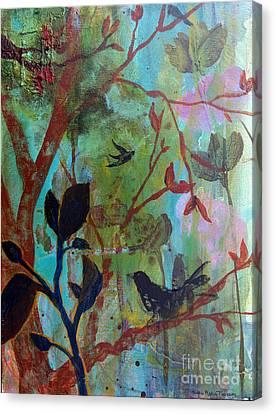 Three Birds Amongst Trees Canvas Print by Robin Maria Pedrero