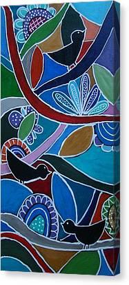 Three Black Birds Canvas Print