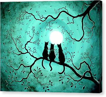 Three Black Cats Under A Full Moon Canvas Print