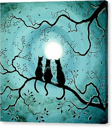 Three Black Cats Under A Full Moon Silhouette Canvas Print by Laura Iverson