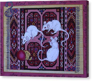 Three Blind Mice Canvas Print by Victoria Heryet