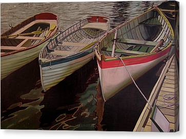 Canvas Print featuring the painting Three Boats by Thu Nguyen