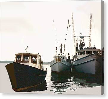 Canvas Print featuring the photograph Three Boats by Walter Chamberlain