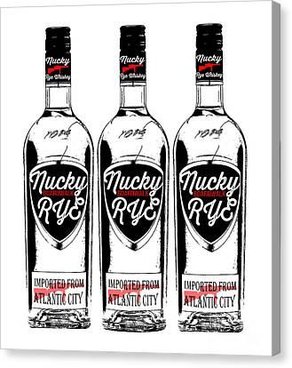 Three Bottles Of Nucky Thompson Boardwalk Rye Whiskey Canvas Print