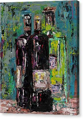 Abstract Art On Canvas Print - Three Bottles Of Wine by Frances Marino