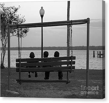 Three Boys On A Swing Canvas Print by Kathi Shotwell