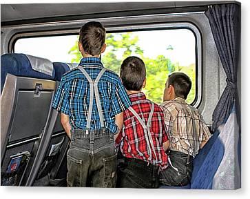 Canvas Print - Three Boys On A Train by Eclectic Art Photos
