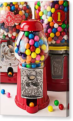 Three Bubble Gum Machines Canvas Print by Garry Gay