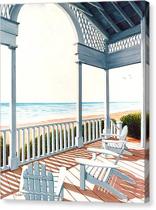 Calming Canvas Print - Adirondacks By The Sea - Prints From Original Oil Painting by Mary Grden Fine Art Oil Painter Baywood Gallery