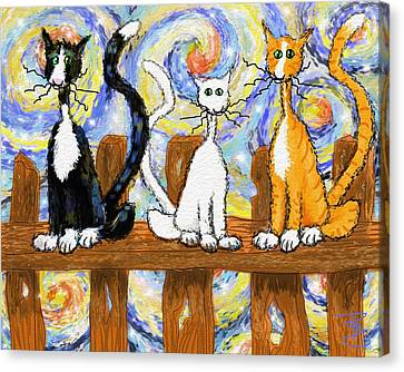 Three Cats On A Fence Canvas Print by Debra Baldwin
