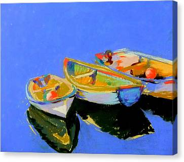 Three Colourful Boats Canvas Print by Sue Gardner