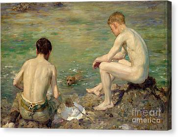 Three Companions Canvas Print by Henry Scott Tuke