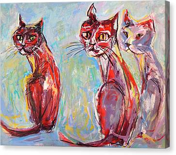 Canvas Print featuring the painting Three Cool Cats by Mary Schiros