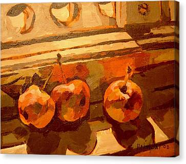 Canvas Print featuring the painting Three Crabapples On A Window Sill by Tim  Heimdal