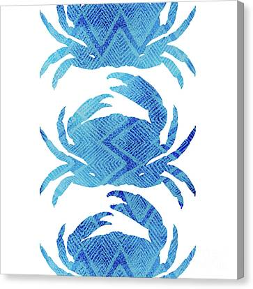 Blue Claw Crab Canvas Print - Three Crabs, Tropical Caribbean Blue Crabs by Tina Lavoie