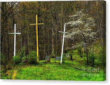 Three Crosses And Dogwood In Bloom Canvas Print