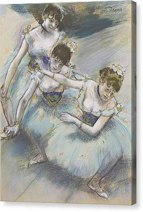 Three Dancers In A Diagonal Line On The Stage Canvas Print by Edgar Degas