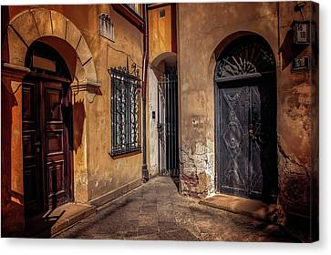 Entrances Canvas Print - Three Doors In Warsaw by Carol Japp