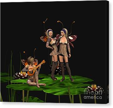 Three Fairies At A Pond Canvas Print by John Junek