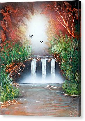 Canvas Print featuring the painting Three Falls by Greg Moores