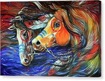 Abstract Equine Canvas Print - Three Feathers Indian War Ponies by Marcia Baldwin