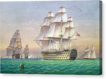 Three First Rate Ships Of The Line Entering Portsmouth Harbor Canvas Print by William and John Joy