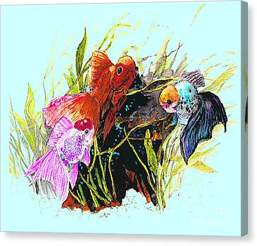 Three Fish - Chinese Watercolor Painting Canvas Print by Merton Allen