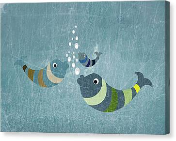 Three Fish In Water Canvas Print