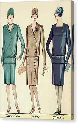 Fashion Model Canvas Print - Three Flappers Modelling French Designer Outfits, 1928 by American School