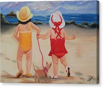 Three For The Beach Canvas Print by Joni McPherson