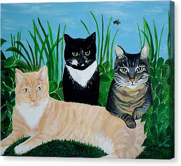 Canvas Print featuring the painting Three Furry Friends by Elizabeth Robinette Tyndall