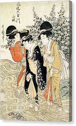 Three Girls Paddling In A River Canvas Print by Kitagawa Utamaro
