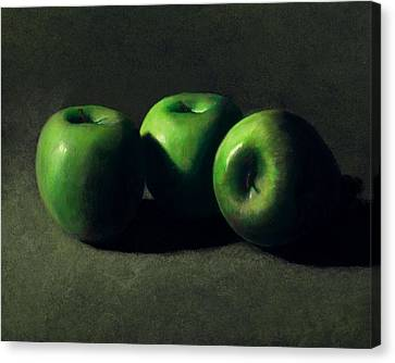 Three Green Apples Canvas Print by Frank Wilson