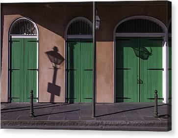Three Green Doors Canvas Print by Garry Gay