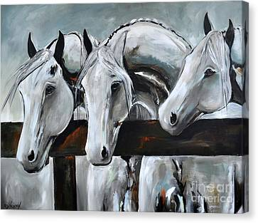 Canvas Print featuring the painting Three Greys by Cher Devereaux