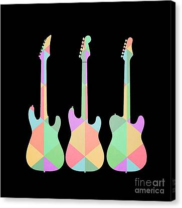 Three Guitars Triangles Tee Canvas Print by Edward Fielding