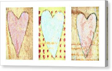 Three Hearts Triptych Canvas Print