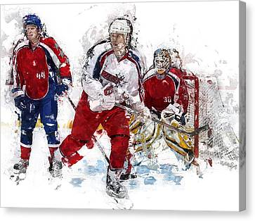 Three Hockey Players At The Goal Canvas Print by Elaine Plesser