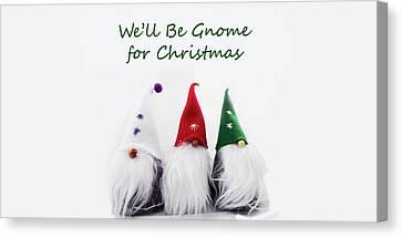Three Holiday Gnomes 2a-t Canvas Print