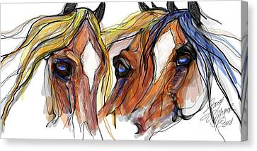 Three Horses Talking Canvas Print