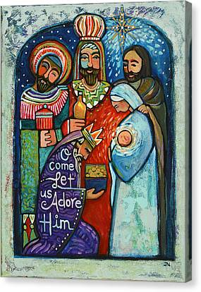 Three Kings Canvas Print - Three Kings O Come Let Us Adore Him by Jen Norton