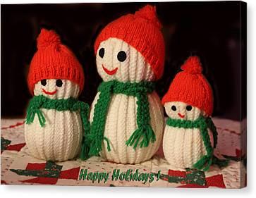 Three Knit Christmas Snowmen Canvas Print