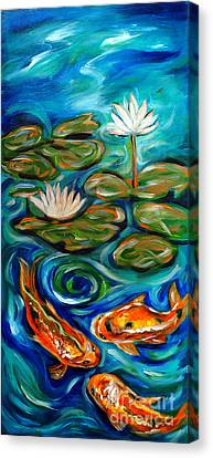 Canvas Print featuring the painting Three Koi by Linda Olsen