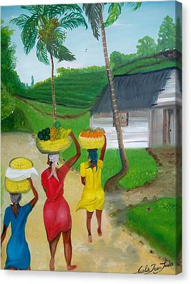 Three Ladies Going To The Marketplace Canvas Print by Nicole Jean-louis