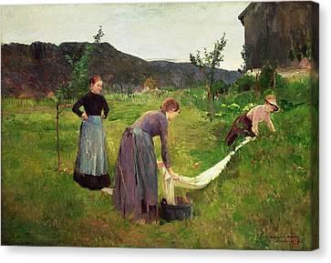 Three Ladies Washing Canvas Print by Harriet Backer
