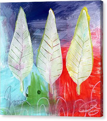 Leaves Canvas Print - Three Leaves Of Good by Linda Woods